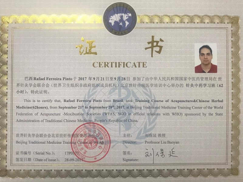 Certificado Training Course of Acupuncture and Chinese Herbal Medicine