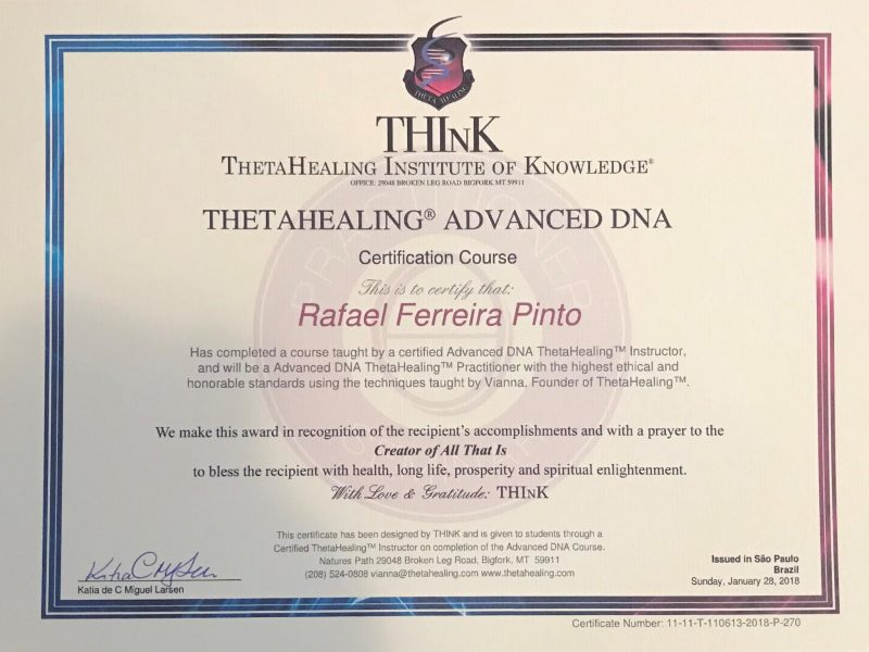 Certificado Advanced DNA ThetaHealing®