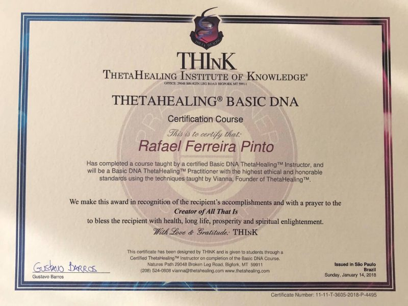 Certificado Basic DNA ThetaHealing®